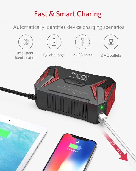 300W Dual DC 12V to 110V AC Outlets Power Inverter Car Charger Adapter 2USB Port