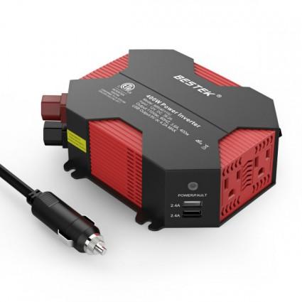 BESTEK 300W Car Power Inverters DC 12V to AC 110V Inverter 2 Ports USB/& Outlets